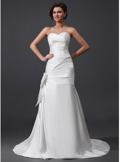 A-Line/Princess Sweetheart Court Train Satin Wedding Dress With Ruffle Bow(s)