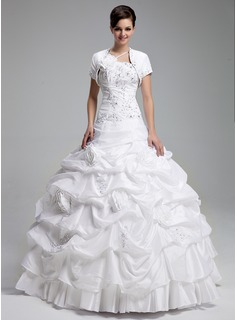 Ball-Gown One-Shoulder Floor-Length Taffeta Quinceanera Dress With Ruffle Lace Beading Flower(s) Sequins (021004719)