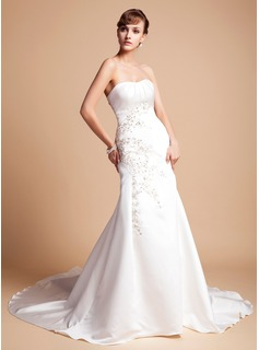 Mermaid Sweetheart Chapel Train Satin Wedding Dress With Embroidery Ruffle Beadwork Sequins (002012173)