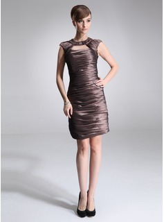 Sheath Scoop Neck Knee-Length Taffeta Cocktail Dress With Ruffle Beading (016021238)