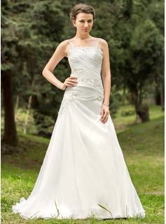 A-Line/Princess Scoop Neck Court Train Organza Wedding Dress With Ruffle Beading Appliques Lace
