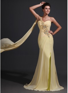 Sheath One-Shoulder Sweep Train Chiffon Charmeuse Mother of the Bride Dress With Ruffle Lace Beading