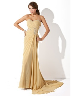 A-Line/Princess Sweetheart Asymmetrical Chiffon Prom Dress With Ruffle Beading (018021083)
