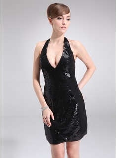 Sheath Halter Short/Mini Sequined Cocktail Dress (016008332)