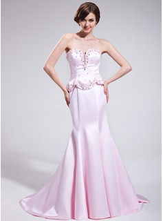 Mermaid Sweetheart Court Train Satin Evening Dress With Lace Beading