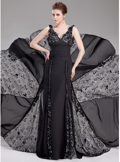 A-Line/Princess V-neck Court Train Chiffon Lace Evening Dress With Ruffle Beading Flower(s)