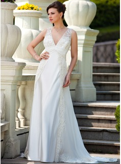 A-Line/Princess V-neck Court Train Chiffon Charmeuse Wedding Dress With Ruffle Lace Beadwork