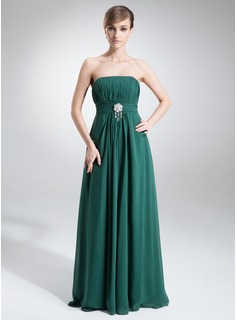 Empire Strapless Floor-Length Chiffon Mother of the Bride Dress With Ruffle Crystal Brooch Bow(s)