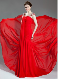 Mermaid Sweetheart Court Train Chiffon Evening Dress With Ruffle Beading (017019716)