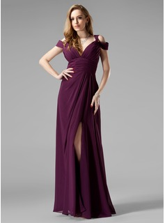 Sheath V-neck Floor-Length Chiffon Evening Dress With Ruffle