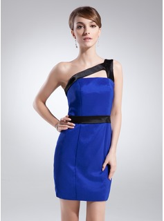 Sheath One-Shoulder Short/Mini Charmeuse Cocktail Dress With Sash