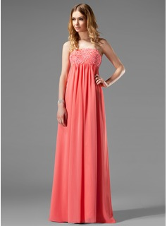 Empire Strapless Floor-Length Chiffon Holiday Dress With Ruffle Lace Beading (020003264)