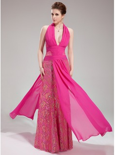 Sheath Halter Floor-Length Chiffon Lace Evening Dress With Ruffle Beading