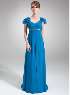 Empire V-neck Sweep Train Chiffon Mother of the Bride Dress With Ruffle Beading