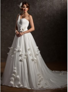 Ball-Gown One-Shoulder Chapel Train Satin Tulle Wedding Dress With Ruffle Lace Beading Flower(s)