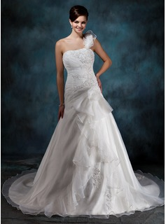 A-Line/Princess One-Shoulder Court Train Organza Satin Wedding Dress With Beading Appliques Lace Flower(s) Cascading Ruffles