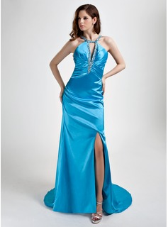 A-Line/Princess Halter Sweep Train Charmeuse Evening Dress With Ruffle Beading Split Front