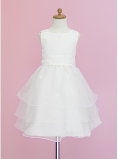 A-Line/Princess Scoop Neck Tea-Length Organza Satin Flower Girl Dress With Appliques