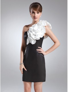 Sheath One-Shoulder Short/Mini Charmeuse Cocktail Dress With Sash Flower(s) (016008553)