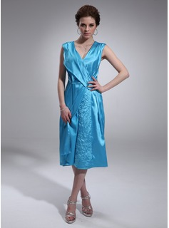 A-Line/Princess V-neck Tea-Length Charmeuse Cocktail Dress With Ruffle Beading (016021180)