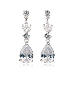 Sparking Zircon/Platinum Plated Ladies' Earrings