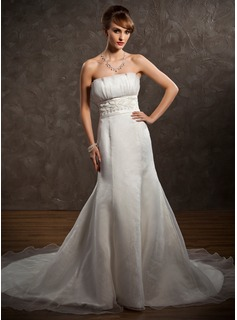 Empire Scalloped Neck Chapel Train Organza Satin Wedding Dress With Ruffle Lace Beading