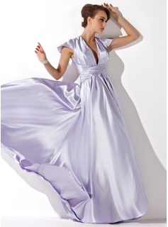 A-Line/Princess V-neck Floor-Length Charmeuse Evening Dress With Ruffle (017021119)