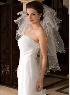 Four-tier Elbow Bridal Veils With Finished Edge