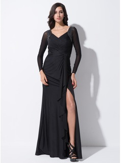Trumpet/Mermaid V-neck Floor-Length Tulle Jersey Evening Dress With Beading Bow(s) Split Front Cascading Ruffles