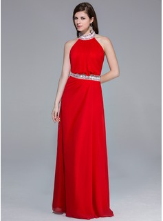 A-Line/Princess Halter Floor-Length Chiffon Evening Dress With Beading Appliques