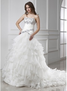 Ball-Gown Strapless Chapel Train Organza Satin Wedding Dress With Beading Cascading Ruffles