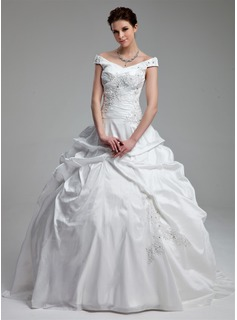 Ball-Gown Off-the-Shoulder Sweep Train Taffeta Wedding Dress With Ruffle Beading Sequins