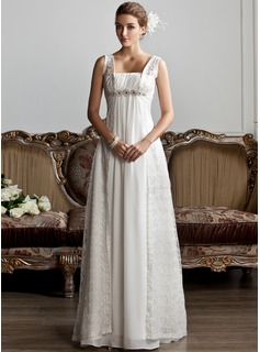 A-Line/Princess Square Neckline Sweep Train Chiffon Lace Wedding Dress With Ruffle Beadwork
