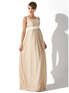Empire Square Neckline Floor-Length Chiffon Charmeuse Maternity Bridesmaid Dress With Sash
