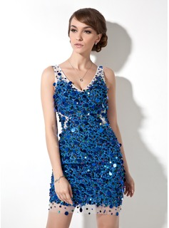 Sheath V-neck Short/Mini Tulle Lace Cocktail Dress With Beading Sequins