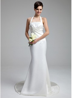 Sheath/Column Halter Court Train Satin Wedding Dress With Ruffle