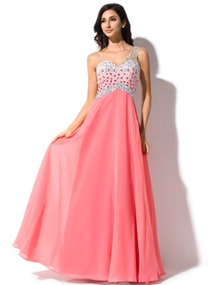 A-Line/Princess One-Shoulder Floor-Length Chiffon Tulle Prom Dress With Beading Sequins