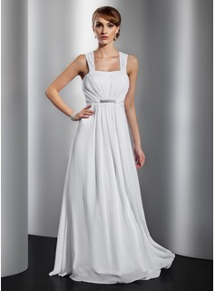 A-Line/Princess Square Necklin Floor-Length Chiffon Evening Dress With Ruffle Beading (017014832)