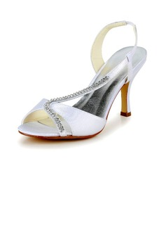 Women's Satin Stiletto Heel Pumps Sandals With Rhinestone (047040204)