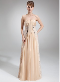 Empire Sweetheart Floor-Length Chiffon Charmeuse Lace Mother of the Bride Dress With Ruffle Beading
