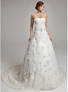 Ball-Gown Sweetheart Court Train Tulle Wedding Dress With Ruffle Beadwork Feather Flower(s)