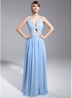 A-Line/Princess V-neck Sweep Train Chiffon Evening Dress With Ruffle Sash Beading Sequins (017014691)