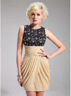 Sheath Scoop Neck Short/Mini Chiffon Charmeuse Cocktail Dress With Ruffle Lace Beading Sequins