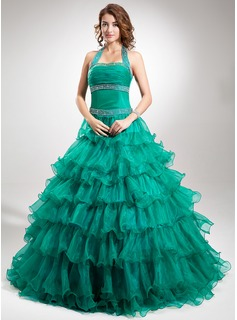 Ball-Gown Halter Floor-Length Organza Satin Quinceanera Dress With Beading Cascading Ruffles (021016348)