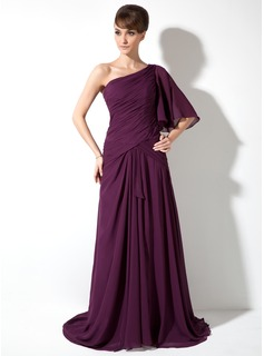 A-Line/Princess One-Shoulder Watteau Train Chiffon Mother of the Bride Dress With Ruffle