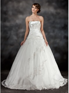 Ball-Gown Sweetheart Sweep Train Tulle Charmeuse Wedding Dress With Ruffle Beading Appliques Lace