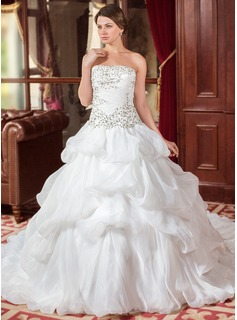 Ball-Gown Strapless Cathedral Train Organza Wedding Dress With Embroidered Ruffle Beading Sequins