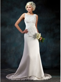 Sheath/Column Scoop Neck Court Train Satin Wedding Dress With Lace Beadwork Sequins