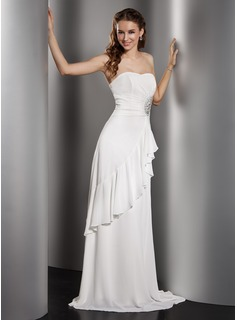 A-Line/Princess Sweetheart Floor-Length Chiffon Wedding Dress With Ruffle Beading
