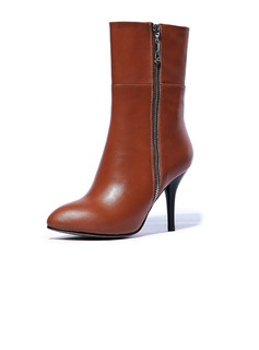 Real Leather Stiletto Heel Mid-Calf Boots With Zipper shoes